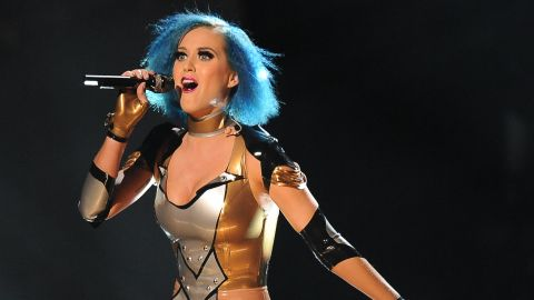 """Perry wears a body-skimming costume to perform """"Part of Me"""" at the Grammys in 2012."""