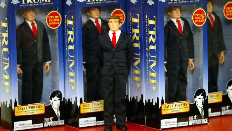 A 12-inch talking Trump doll is on display at a toy store in New York in September 2004.