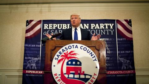 Trump speaks in Sarasota, Florida, after accepting the Statesman of the Year Award at the Sarasota GOP dinner in August 2012. It was shortly before the Republican National Convention in nearby Tampa.