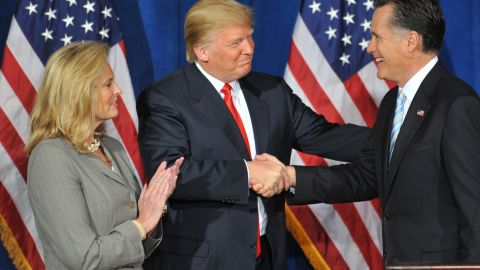 In 2012, Trump announces his endorsement of Republican presidential candidate Mitt Romney.