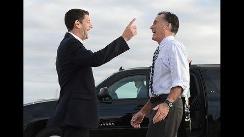 Romney says goodbye to Ryan at Denver International airport on Wednesday, October 24.