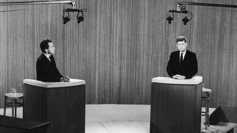 Nixon and Kennedy debate in 1960.