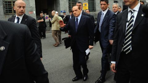 Italian Prime Minister Silvio Berlusconi arrives at Milan's justice court on May 2, 2012.