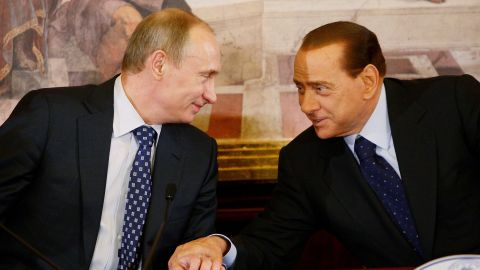 Russia's Vladimir Putin joins Berlusconi for a press conference in Lesmo, Italy, in April 2010.