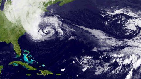 Sandy churning off the US East Coast on October 28, 2012.