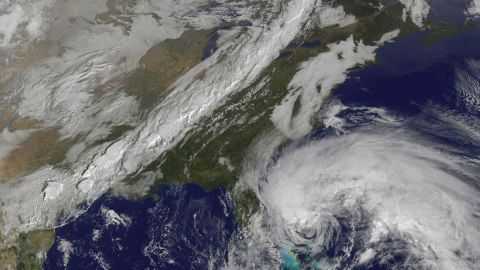 """A satellite view of Hurricane Sandy shows the storm at 10:15 a.m. ET on Friday, October 26. Though it was no longer considered a hurricane when it hit the U.S., """"post-tropical"""" Superstorm Sandy packed a hurricane-sized punch."""