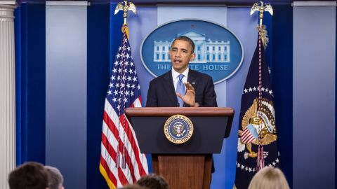 Obama makes a statement in the White House briefing room following a briefing on Hurricane Sandy on Monday in Washington. Obama returned early from a campaign trip to Florida and has canceled several other campaign events to monitor the storm.