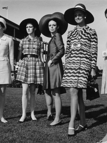 """Just three years after Shrimpton caused a stir, finalists in the 1968 """"Fashions on the Field"""" competition can be seen wearing dresses well above the knee."""