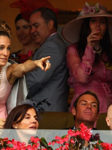 """""""Sex and the City"""" star Sarah Jessica Parker at last year's carnival, alongside cricketer Shane Warne and actress Liz Hurley."""