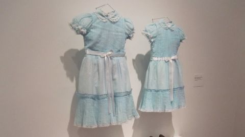 """The blue dresses worn by the ghostly twins of """"The Shining"""" are just as chilling off the movie set."""