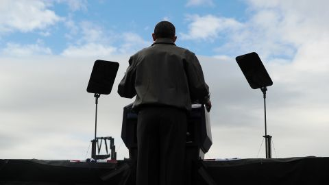 President Obama speaks during a campaign rally at  Austin Straubel International Airport.