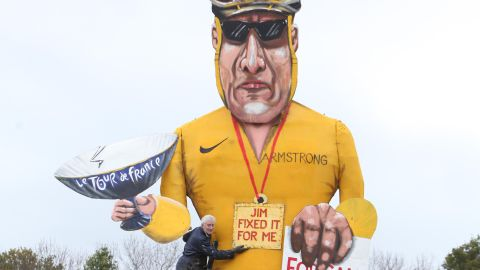 """Disgraced cyclist Lance Armstrong is the subject of annual Bonfire Night celebrations in the British town of Edenbridge. An effigy of Armstrong will be burned during the celebrations, which mark the foiling of Guy Fawkes' """"gunpowder plot"""" to blow up the Houses of Parliament and kill King James I in 1605. The Edenbridge Bonfire Soceity has gained a reputation for using celebrity """"Guys,"""" including Tony Blair, Jacques Chirac and Saddam Hussein."""