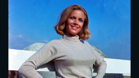 """Pilot Pussy Galore, played by Honor Blackman, claimed to be immune to Bond's charm in 1964's """"Goldfinger."""" However, Galore eventually falls for 007."""