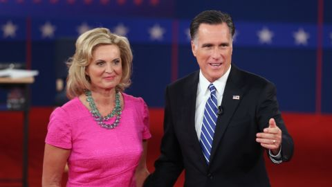 Mitt and Ann Romney after a town hall-style presidential debate in 2012.