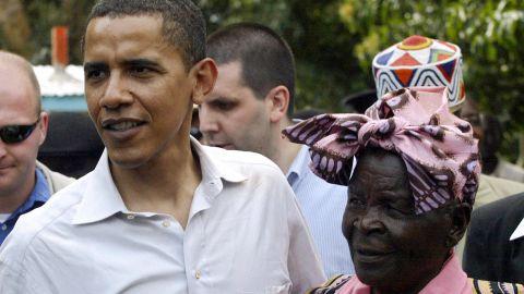 President Obama greets his grandmother, Sarah Obama, at her  home in Siaya, Kisumu, Kenya, in 2006.