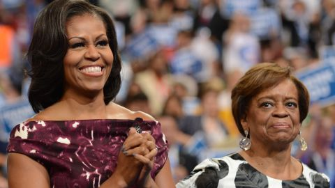 First lady Michelle Obama and her mother, Marian Robinson, at the 2012 Democratic convention.