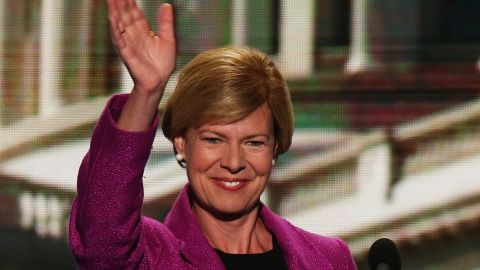 CHARLOTTE, NC - SEPTEMBER 06: U.S. Rep. Tammy Baldwin (D-WI) waves on stage during the final day of the Democratic National Convention at Time Warner Cable Arena on September 6, 2012 in Charlotte, North Carolina. The DNC, which concludes today, nominated U.S. President Barack Obama as the Democratic presidential candidate.
