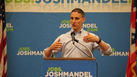 Republican candidate Josh Mandel campaigns for the Ohio senate seat.
