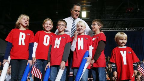Romney meets some young supporters during a campaign rally at the Hy-Vee Center in Des Moines, Iowa, on Sunday.