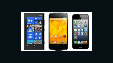 Windows Phone 8 on a Nokia 920, Android 4.2 on the Nexus 4, and an iPhone 5 running iOS 6.
