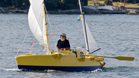 """In a career spanning more than 50 years, Yrvind is showing no signs of slowing down. Last year he sailed 4.5 meter boat """"Yrvind.com"""" (pictured) from Ireland to the Caribbean."""