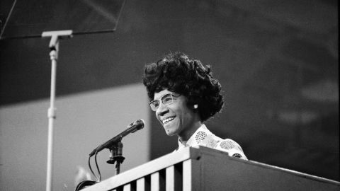 Shirley Chisholm, who in 1968 became the first African-American woman elected to Congress, at the 1972 Democratic National Convention.