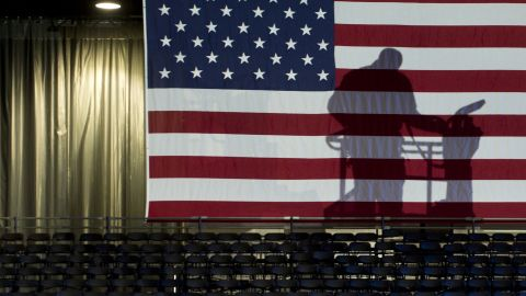 Workers prepared for President Barack Obama's election night rally at McCormick Place in Chicago, Illinois.