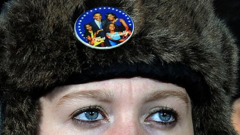 A young supporter listens to Obama at Monday's rally in Des Moines.