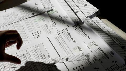 A volunteer prepared ballots at a polling station in San Francisco, California.