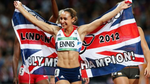 """Jessica Ennis beat her closest opponent in the 2012 Olympic heptathlon event <a href=""""http://www.telegraph.co.uk/sport/olympics/athletics/9452762/Jessica-Ennis-crowns-stunning-Olympic-gold-medal-heptathlon-victory-with-blistering-800m-run.html"""" target=""""_blank"""" target=""""_blank"""">by more than 300 points</a>. <a href=""""http://www.dailymail.co.uk/news/article-2183583/The-golden-girl-delivers-Jessica-Ennis-crowned-Olympic-heptathlon-champion-winning-800m-jubilant-Olympic-Stadium-crowd.html"""" target=""""_blank"""" target=""""_blank"""">Ennis earned her gold medal</a> by participating in the 100-meter hurdles, the high jump, the shot put, the 200-meter race, the long jump, the javelin throw and the 800-meter race."""