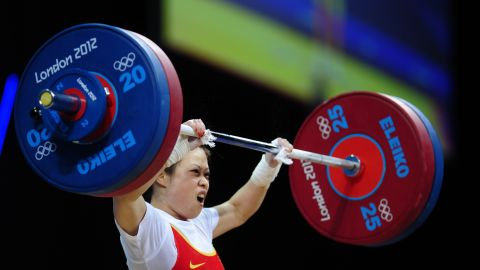 """China's Wang Mingjuan weighs only 106 pounds, but she can lift more than 200. Wang claimed the weightlifting gold medal of the 2012 Olympic Games in the women's lightest category. The 26-year-old four-time world champion has not been defeated in international competition since winning her first world title in 2002, <a href=""""http://www.dailymail.co.uk/sport/olympics/article-2180318/London-2012-Olympics-Wang-Mingjuan-wins-weightlifting-gold.html#ixzz2BMmxKGCx"""" target=""""_blank"""" target=""""_blank"""">according to the Daily Mail</a>."""