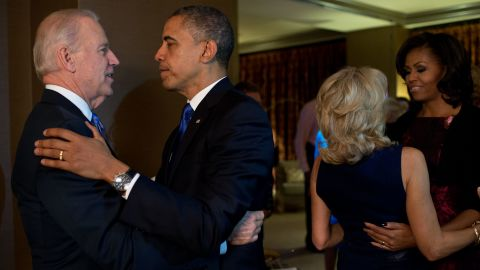 President Barack Obama and First Lady Michelle Obama embraced Vice President Joe Biden and Dr. Jill Biden moments after the election was called in their favor.