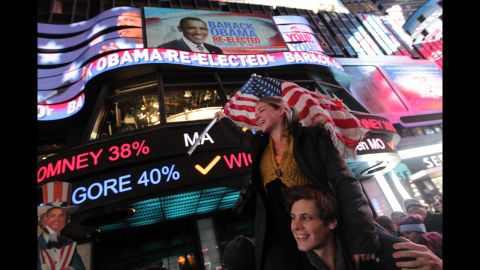 People gathered in Times Square in New York City and celebrated four more years in office for President Barack Obama.