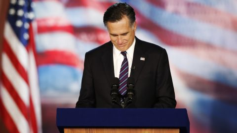 Image #: 20021785    Republican presidential nominee Mitt Romney delivers his concession speech during his election night rally in Boston, Massachusetts, November 7, 2012.     REUTERS/Mike Segar (UNITED STATES  - Tags: POLITICS ELECTIONS USA PRESIDENTIAL ELECTION)         REUTERS /MIKE SEGAR /LANDOV