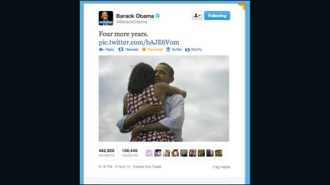 This tweet by @BarackObama quickly became the most retweeted message ever on Twitter.