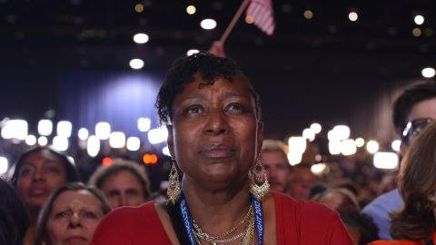 A supporter listened intently to President Barack Obama's victory speech in Chicago.