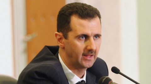 Syrian President Bashar al-Assad speaks at a press conference on January 19, 2006 in Damascus, Syria.