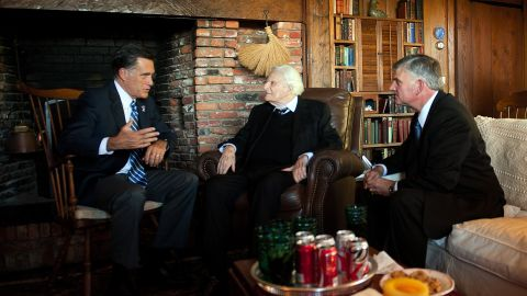 Republican presidential candidate Mitt Romney speaks with Graham and his son Franklin during a visit to Montreat in 2012.