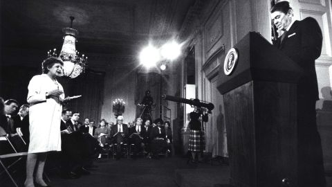 """President Ronald Reagan addresses the media in 1987, months after the disclosure of the <a href=""""http://www.cnn.com/SPECIALS/2001/reagan.years/whitehouse/iran.html"""">Iran-Contra affair</a>. A secret operation carried out by an American military officer used proceeds from weapons sales to Iran to fund the anti-communist Contras in Nicaragua and attempted to secure the release of U.S. hostages held by Iran-backed Hezbollah in Lebanon. Mehdi Hashemi, an officer of Iran's Islamic Revolutionary Guards Corps, leaked evidence of the deal to a Lebanese newspaper in 1986. Reagan's closest aides maintain he did not fully know, and only reluctantly came to accept, the circumstances of the operation."""
