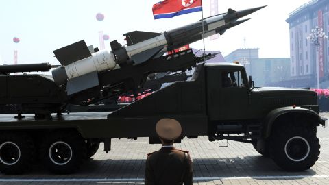 (File photo) A missile is displayed during a military parade in Pyongyang on April 15, 2012.