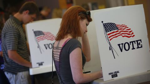 Students vote at the University of Northern Iowa in Cedar Falls in 2012.