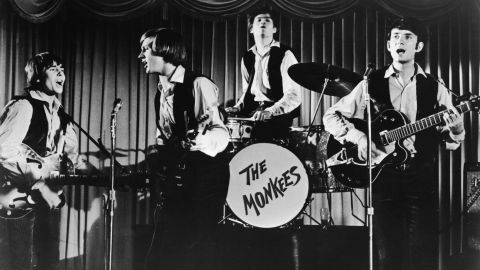 """Davy Jones, Peter Tork, Mickey Dolenz and Michael Nesmith of The Monkees, the band created for the 1960s TV series of the same name, won the hearts of fans with hits like """"I'm a Believer,"""" """"Pleasant Valley Sunday"""" and """"Daydream Believer."""""""