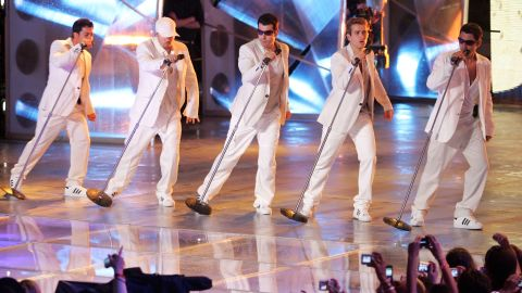 """Danny Wood, Donnie Wahlberg, Jordan Knight, Joey McIntyre and Jonathan Knight of New Kids on the Block perform live in 2008. The group, which rose to superstardom in the late '80s and early '90s, reunited for 2008's """"The Block"""" and 2011's """"NKOTBSB"""" with the Backstreet Boys. The Kids released their box set """"10"""" in 2013."""