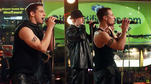 """98 Degrees (seen here performing  in 1999) announced in May that they will be heading out on a holiday music tour for the 2018 season.  Made up of brothers Nick and Drew Lachey, Justin Jeffre and Jeff Timmons. The group released three albums, in addition to one Christmas album, between 1997 and 2000. Their album, """"2.0,"""" arrived in 2013 and they released a Christmas album, """"Let It Snow,"""" in 2017."""