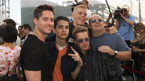 """The made-for-TV boy band 2gether debuted on MTV in 2000. Shown here at the 2000 MTV Movie Awards, the guys attracted attention with songs like """"U + Me = Us (Calculus)"""" and """"Say It (Don't Spray It)."""" """"2ge+her: The Series"""" followed the original TV movie, but ended in 2001 when member Michael Cuccione died of cancer. In <a href=""""http://marquee.blogs.cnn.com/2011/11/15/mtvs-fake-boy-band-2gether-plots-comeback/"""" target=""""_blank"""">November 2011</a>, Alex Solowitz, Evan Farmer, Noah Bastian and Kevin Farley said they were looking to reunite the band."""