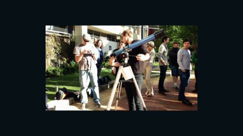 """Staff and students used the campus at Swinburne University in Melbourne, Australia, to hook up telescopes and camera equipment to capture the eclipse, says <a href=""""http://www.flickr.com/photos/13370398@N08/"""" target=""""_blank"""" target=""""_blank"""">Kim Tairi</a>. """"We have a center for astrophysics and supercomputing here ... [so we] set up an area on campus [where] people could come past and get a look at the eclipse,"""" she says."""