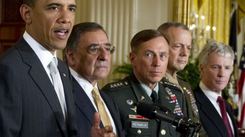 The U.S. Senate unanimously confirmed Petraeus as the next director of the Central Intelligence Agency in June 2011. Pictured from left, Obama announces that he will nominate current CIA Director Leon Panetta as Secretary of Defense, Gen. David Petraeus as the next director of the CIA, Gen. John Allen as commander for U.S. forces in Afghanistan, and Ryan Crocker as the U.S. ambassador to Afghanistan in April 2011.