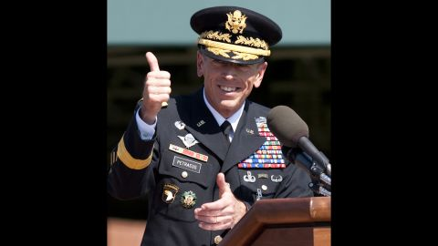 Petraeus retired from the military after 37 years of service before taking his new role with the CIA in August 2011. Pictured he speaks at an Armed Forces Farewell Tribute and Retirement Ceremony in his honor at Joint Base Myer-Henderson Hall in Arlington, Virginia.