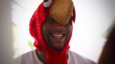 """Patrice Wilson, seen here in a turkey costume, also produced Rebecca Black's annoyingly catchy """"Friday"""" video."""
