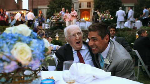 On August 21, 2010, TV reporter Roby Chavez, right, shares a moment with gay rights activist Frank Kameny during Chavez and Chris Roe's wedding ceremony in the nation's capital. Same-sex marriage became legal in Washington in March 2010.